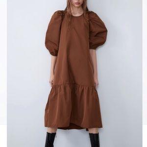 Zara voluminous taffeta dress in cognac rust NEW